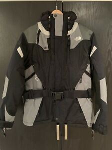 Women's North Face Ski Jacket with Belt in Black and Grey - Size M