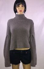 High Turtle Neck Knitted Popcorn Chunky Sweater Bell Sleeve Gray AERO