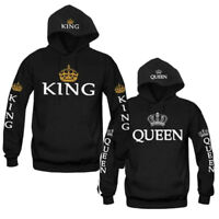 Men Women Hoodies Jumper Tops King and Queen Crown Couples Matching-Sweatshirts