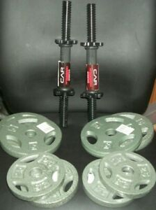 "CAP 30 Lb Total Adjustable Cast Iron 1"" Dumbbell Weight Set NEW Free SHIPPING"