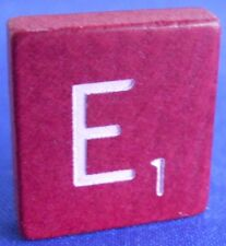 Single Maroon Scrabble Wood Letter E Tile One Only Replacement Game Parts Pieces