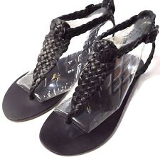 Ecote Women's Braided Buffalo Leather Strap Sandals Black US 8 New