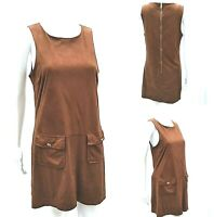 River Island Pinafore Dress Womens Size 10 UK Chocolate Brown Faux Suede Pockets