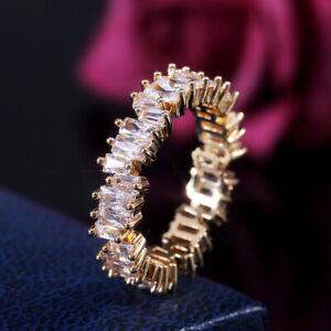 Elegant Women Marquise Cut White Sapphire 14K Gold Filled Wedding Ring Size 9