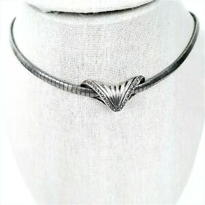 """Vintage .925 Sterling Silver Italy Omega Necklace w Pendant Collar 16""""  Stamped"""