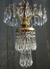 old Vintage Hollywood Regency waterfall Tole brass SWAG lamp crystal chandelier