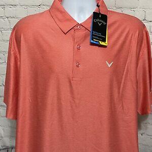 Callaway Golf Mens Polo Shirt XL Sunkist Coral Opti-Dri UPF 50 NWT $75