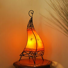 Lampe de Henné orientale du Maroc en cuir Luminaire Canar ORANGE H58cm