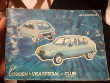 CITROEN VISA SPECIAL / CLUB - LIBRETTO USO E MANUTENZIONE 1980 auto macchina