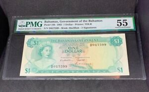 PMG Graded Bahamas, Government Of The Bahamas P18b 1965 $1 Banknote 55 Au