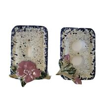VTG Light Switch Plate Plug Plate Ceramic Hand Painted Blue Pink Floral Retro