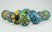 Ceramic Knobs Drawer Pulls Hand Painted Cabinet Knob Decor Color Body Sky Blue
