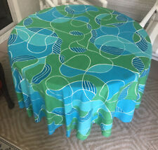 "Vintage VERA 100% Cotton Tablecloth Abstract 70"" Round Blue Green EUC"