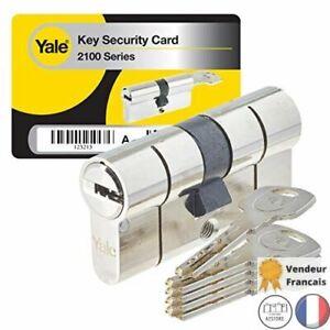Cylindre de Serrure Débrayable 30X30mm Porte Avec 5 Clés Reversibles Yale YC2100