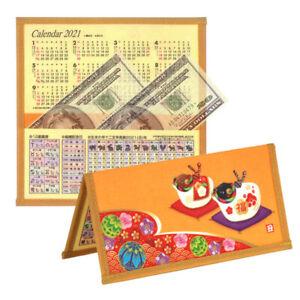 2021 New Year of OX Zodiac ETO Japanese Mingei Gold Rice Paper Calendar Wallet