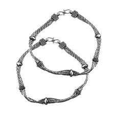 Handmade Anklet Oxidized Solid 925 Sterling Silver Indian Women Fashion Jewelry