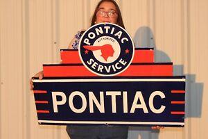 """Large Pontiac Authorized Service Car Dealership Gas Oil 36"""" Porcelain Metal Sign"""