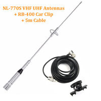 NL-770S VHF UHF Antennas + RB-400 Car Clip + 5m Cable Ham Amateur Radios US EL