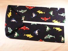 Sharks on Navy Blue Fleece Scarf no fringe