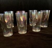 """Vintage Iridescent Water Glasses Set of 7- 4 3/4"""" x 2 3/4"""" Clear Glass High Ball"""