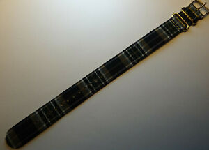 New LONG EZ Pass Thru Timex ONE PIECE 20mm Watch Band Green White Blue Plaid