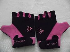 DUNLOP CYCLE GLOVES HALF FINGER PADDED PALM 1 PAIR PINK BLACK SIZE SMALL AND XS