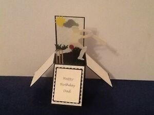 Hand made pop up card CRICKET theme Can be personalised