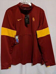 NWT Nike USC Trojans Mens 1/4 Zip Pullover Therma Red Sweatshirt Sz L AR9481 613