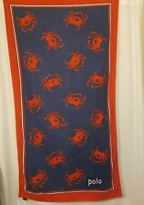 Ralph Lauren Home Beach Bath Pool Towel Polo Blue Red Crabs 100% Cotton  34x62
