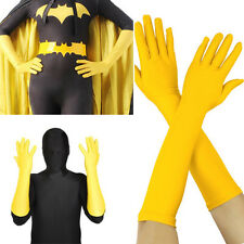 Yellow Lycra Stretch Gloves Elbow Bridal Opera Superhero Halloween Party XS-XL