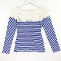 Kitten D'amour Women's Size XS White Blue Stripe Lace Shoulder Long Sleeve Top