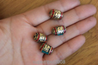 BD161 Ethnic Tibetan Mantras Turquoise Coral 15mm*10mm Spacers Beads  4 PCS Lot