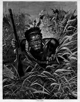 ZULU WAR SCOUT WITH GUN, ANTIQUE ZULU HISTORY ENGRAVING