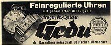 Garantiegemeinschaft Deutscher Uhrmacher GEDU Historische Reklame von 1938