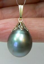 TAHITIAN SOUTH SEA PEARL 14K GOLD PENDANT 13 by 17mm