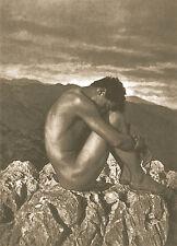 PHOTO ART PRINT - Male Nude by Von Gloeden 23.5x31.5 Man Sitting Rock Gay Poster