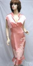 NAEEM KHAN  Peach Silk Dress With Applique Trim SZ 8