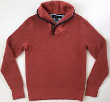 TOMMY HILFIGER Mens Coral Orange High Collar Henley Pullover Sweater Sz XS