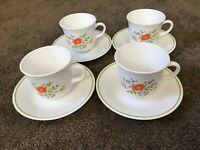 Vintage Corelle by Corning Set of 4- WILDFLOWER - 8 oz. Cups and Saucers