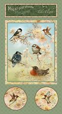 "Fabric Wild Birds & Hummingbirds Song Garden Melodies Sage Cotton 23""x44"" Panel"