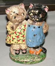 Original Cast Iron Drayton Twin Cats Figural Doorstop #73 With Original Paint