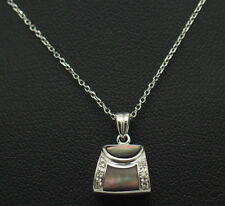 14K White Gold Abalone Shell w/0.05ctw Diamond Accents Hand Bag Pendant Necklace