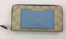 New Authentic Coach F57318 Color Block Logo Accordion Zip-Around Wallet Blue
