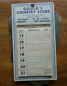 VTG  1961 Gould's Country Store Calendar Piermont, New Hampshire