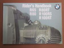 BMW R65 R80 R80RT R100 R100RS R100RT Owners Manual Riders Manual