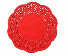 """Christmas House 10"""" Red Paper Die Cut Doilies 10 Count"""