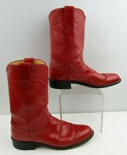 Ladies Justin Red Leather Round Toe Western Boots Size: 7.5 A *NARROW WIDTH*