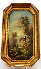 Ölbild,kleine romantische Landschaft,Ruine,signiert,auf Kupfer gemalt? 20.Jhdt.