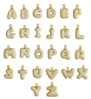 Bubble Letter A to Z Alphabet Cz Pendant 14k Gold Plated + Rope Chain  Hip Hop