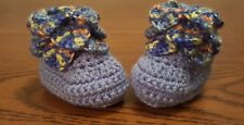 Baby 0-3 Months Blue Colorful Crocodile Stitch Hand Crocheted Booties Socks